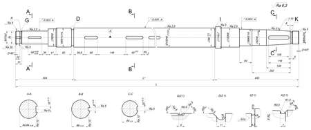 Expanded sketch of shaft with sections and hatching. Engineering drawing with lines and numbers. Vector image