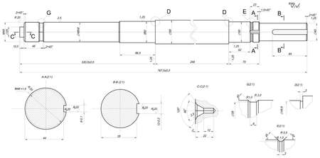the shaft: Expanded sketch of shaft with element sections and hatching. Engineering drawing with lines and numbers. Vector image