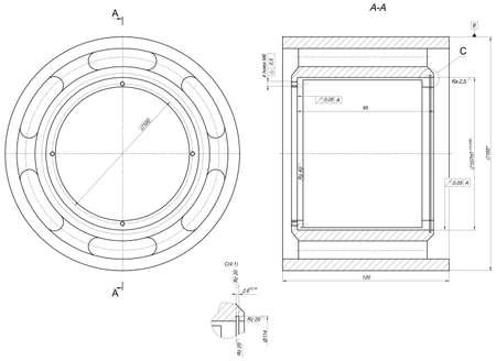 bearing: Sketch of bearing. Engineering drawing with lines, angle degrees and numbers. Vector image