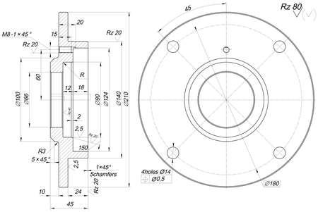 Sketch of bearing with chamfers. Engineering drawing with lines, angle degrees and numbers. Vector image Çizim