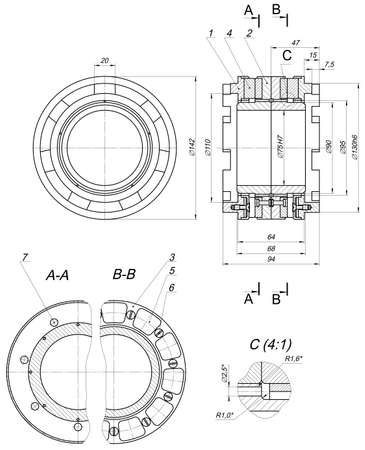 hatching: Expanded sketch of bearing with numbers and hatching. Engineering drawing with lines, angle degrees. Vector image Illustration
