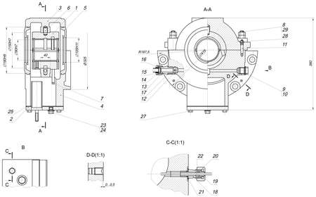 bearing: Expanded sketch of bearing with different elements and hatching. Engineering drawing with lines, angle degrees and numbers. Vector image