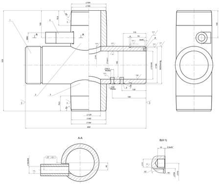 angle: Expanded sketch of different engineering elements. Drawing with lines, angle degrees and numbers. Vector image