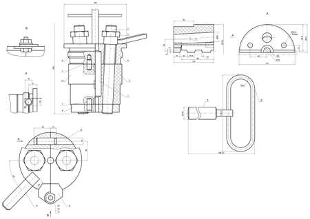 expanded: Expanded drawing of engineering elements with lines, angle degrees and numbers. Vector image Illustration