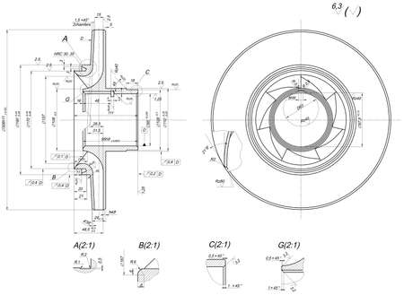 span: Expanded wheel sketch with span, chamfers, lines, angle degrees and numbers. Vector image Illustration