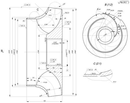 expanded: Expanded sketch of engineering wheel with chamfers, hatching, lines, angle degrees and numbers. Vector image