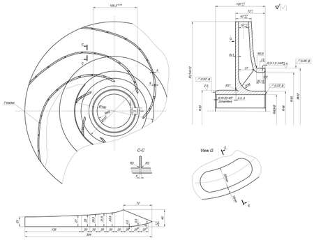 blades: Expanded sketch of engineering wheel with blades, hatching, lines, angle degrees and numbers. Vector image
