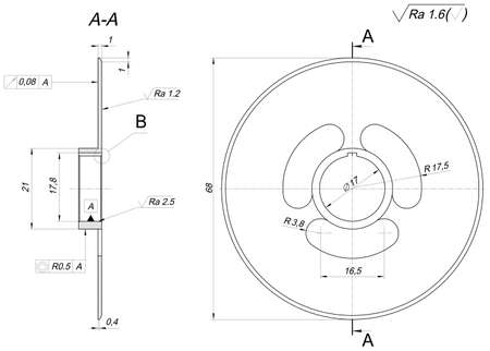 radical: Engineering sketch of wheel with radical, hatching, lines, angle degrees and numbers. Vector image