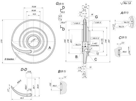 blades: Engineering sketch of wheel with blades, hatching, lines, angle degrees and numbers. Vector image Illustration