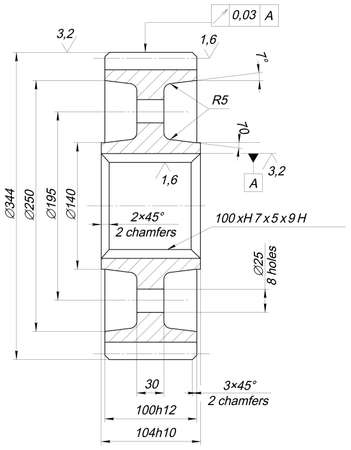 line drawings: Engineering sketch of wheel with chamfers, hatching, lines, angle degrees and numbers. Vector image