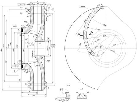 blades: Part wheel of engineering sketch with blades, hatching, lines, angle degrees and numbers. Vector image