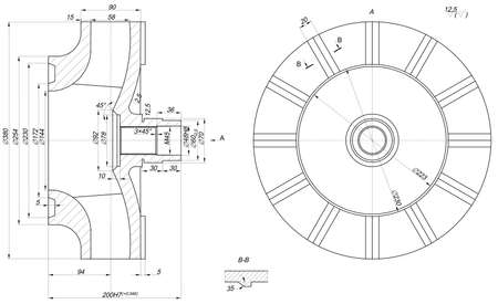 span: Expanded wheel sketch with span, lines, angle degrees and numbers. Vector image