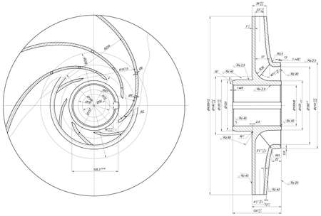 radical: Expanded wheel sketch with span, radical, lines, angle degrees and numbers. Vector image Illustration