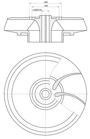 span: Expanded sketch of wheel with section, span, lines, angle degrees and numbers. Vector image