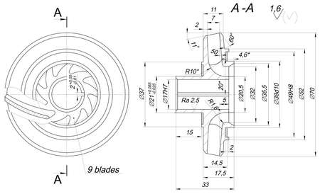 span: Expanded wheel sketch with, radical, span, lines, angle degrees and numbers. Vector image