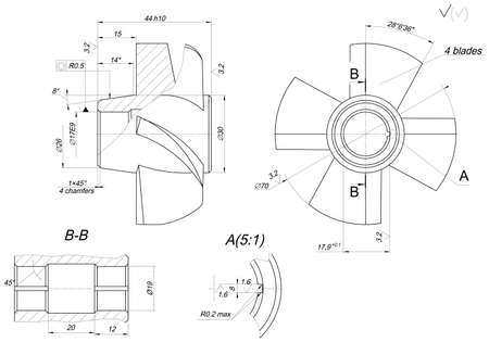 span: Expanded wheel sketch with different elements, span, lines, angle degrees and numbers. Vector image