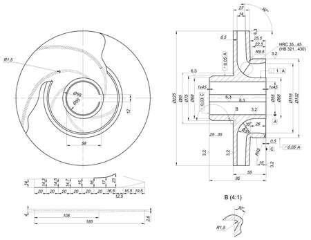 span: Expanded wheel sketch with hatching, crowfoots, lines, angle degrees and numbers. Vector image