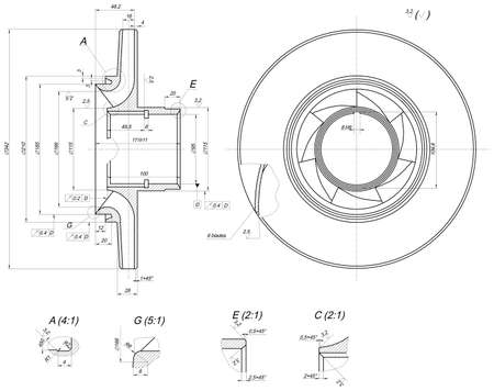 span: Expanded wheel sketch with blades, hatching, crowfoots, curved lines, angle degrees and numbers. Vector image
