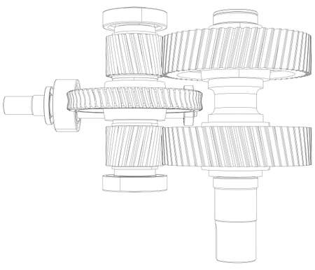 the shaft: Wire-frame gears with shafts. Close-up. Vector illustration, 3d render Illustration