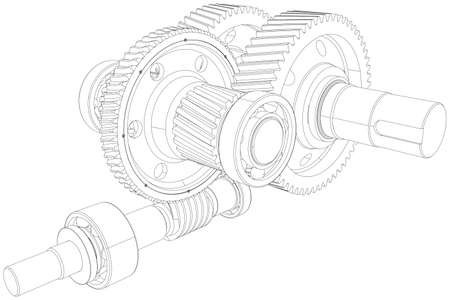 Wire-frame gears with shafts. Close-up. Vector illustration, 3d render Illustration