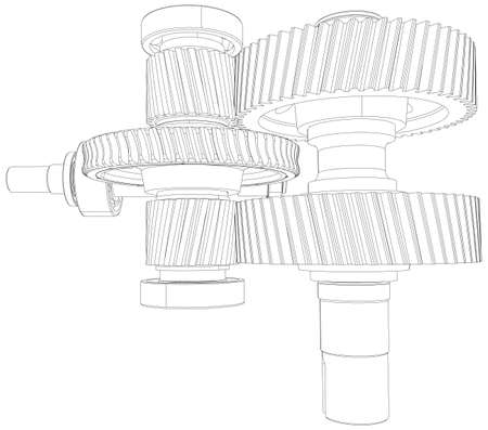 line drawings: Wire-frame gears with shafts. Close-up. Vector illustration, 3d render Illustration