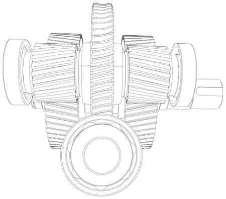 Wire-frame gears with shafts. Close-up. Vector illustration, 3d render Illustration