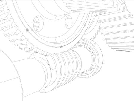 helical: Wire-frame gears with shafts. Close-up. Vector illustration, 3d render Illustration