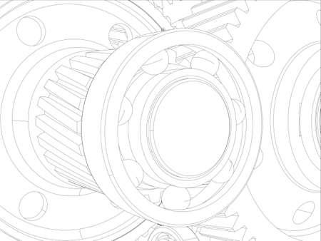 shaft: Wire-frame gears with shafts. Close-up. Vector illustration, 3d render Illustration