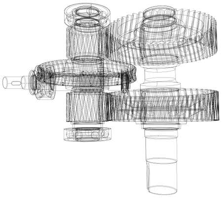 shafts: Wire-frame gears with shafts. Close-up. Vector illustration, 3d render Illustration