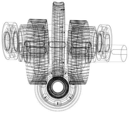 shafts: Drahtgitterr�der mit Wellen. Nahaufnahme. Vektor-Illustration, 3d render Illustration