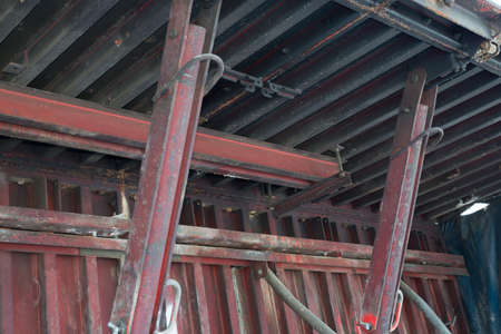 reinforcing: Rusty iron construction with reinforcing bar mesh Stock Photo