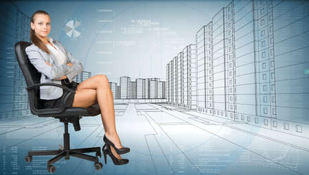 half turn: Businesslady sitting half turned in chair with crossed legs and looking at camera on cityscape background. Sketch of the business city with graphical charts on background Stock Photo