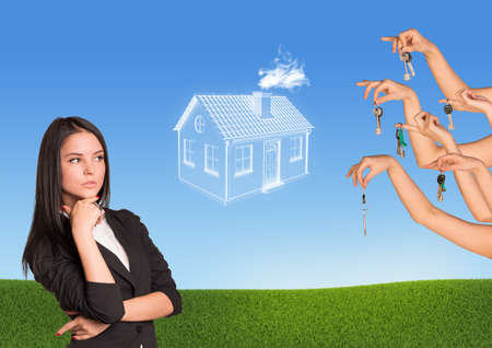 brooding: Business woman with brooding eyes, abstract house with several hands offering keys. Nature background Stock Photo