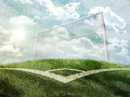 indexing: Green nature field with gates and indexing under grey sky. Nature background Stock Photo