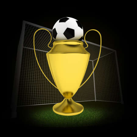 Winner cup with football and gates. Dark background photo