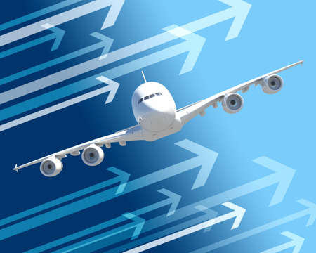 front view: Front view of jet with arrows on abstract blue background