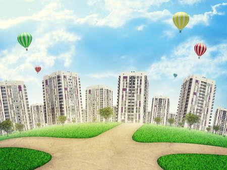 crossroad: Paisaje urbano bajo el cielo azul con cruce de caminos y �rboles, globos