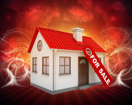small house: Home for sale real estate sign and small house on abstract red background Stock Photo