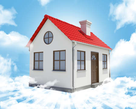 close up chimney: Small house with red roof on abstract blue sky background