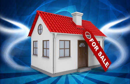 home for sale: Home for sale real estate sign and small house on abstract blue background Stock Photo