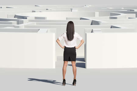Businesswoman standing near entrance of labyrinth, rear view. Isolated background, virtual model photo