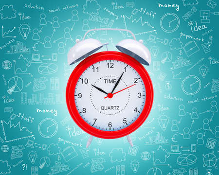 abstract alarm clock: Old fashioned red alarm clock on abstract blue background