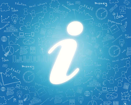 i net: Internet icon on abstract blue background with sketches Stock Photo