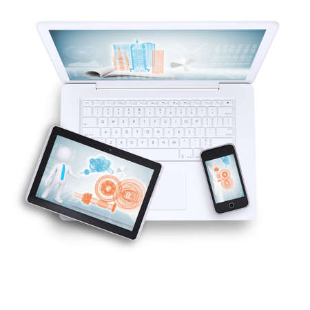 Laptop with tablet and mobile phone on isolated white background, top view photo