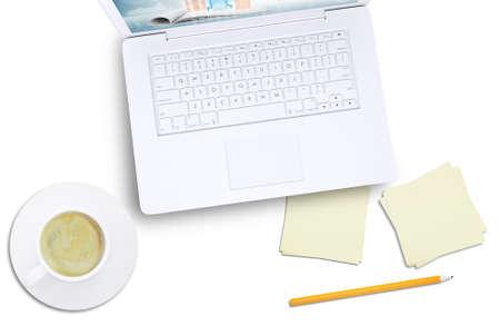 white laptop: