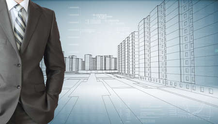graphical: Businessman with his hand in pocket, rear closed up view. Sketch of the business city with graphical charts on background