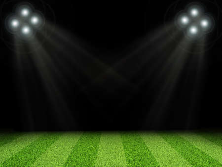 indexing: Illuminated stadium with bright lights,  without indexing on dark background