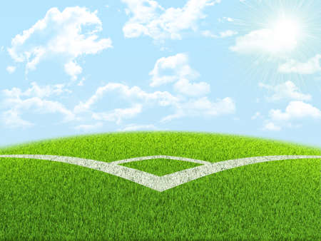 indexing: Green nature field with indexing under blue sky. Nature background Stock Photo