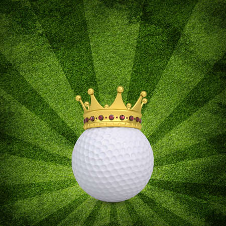 Golf ball with crown on green grass background photo