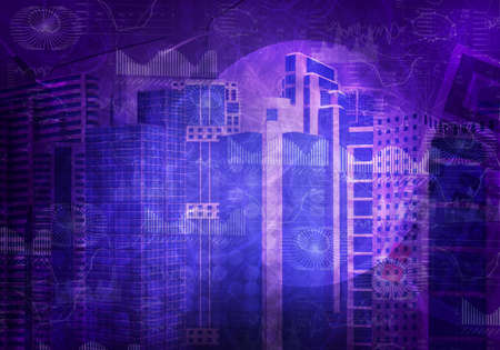 Abstract colrful background with cityscape model and graphical charts